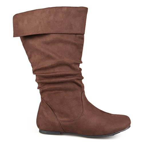 Brinley Co Womens Regular Size and Wide-Calf Microsuede Slouch Mid-Calf Boot Brown,...