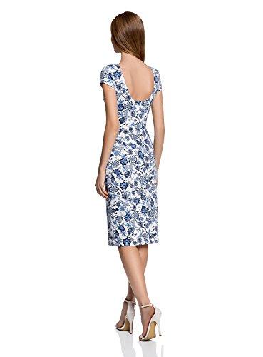 oodji Collection Mujer Vestido Midi con Escote en la Espalda Blanco (1275F)