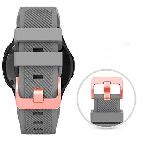Midenso Bands for Samsung Gear S3 Frontier/Classic Watch Silicone Bracelet Rose Gold Buckle, Sports Silicone Band Strap Replacement Wristband for Samsung Gear S3 Frontier / S3 Classic (Grey-RGB)