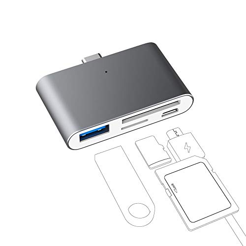 USB C OTG Adapter, Potable USB C Hub with 2-Slot SD/TF/Micro SD Card Reader, USB C OTG to USB 3.0 Adapter and Micro USB Port, Suit for Type C Phones with OTG Function and Mini Hub for USB C Laptop