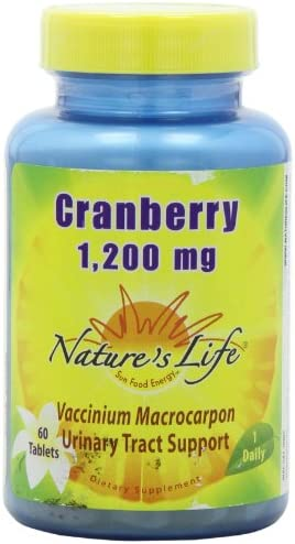 Nature s Life Cranberry Concentrate Tablets, 1200 Mg, 60 Count