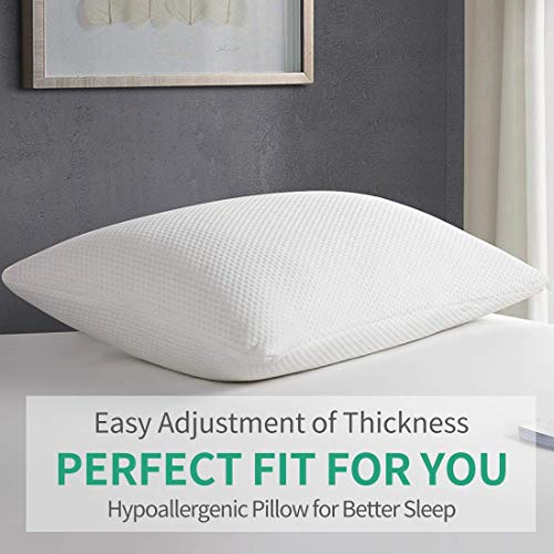 YOUMAKO Standard Size Memory Foam Cooling Zippered Washable Bamboo Cover,Hypoallergenic Sleeping Bed Pillow for Home and Luxury Hotel, White