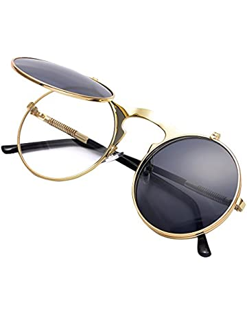 6731d841a267 COASION Vintage Round Flip Up Sunglasses for Men Women Juniors John Lennon  Style Circle Sun Glasses