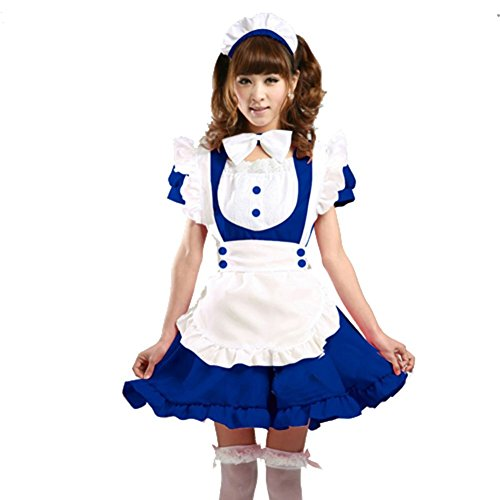 Treasure-box Women's Lolita Dresses French Apron Maid Costumes 8-10 Blue (French Maid Uniform Dress)