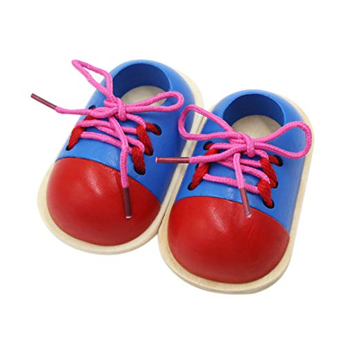 RARITY-US Wooden Lacing Shoe Toy Learn to Tie Shoelaces, Fine Motor Skills Toy Preschool Educational Threading Toy for Kids