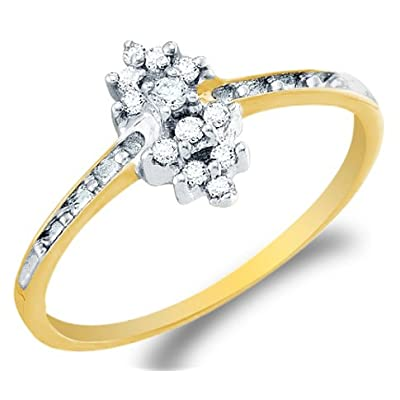 10k Yellow OR White Gold Ladies Womens Diamond Cluster Ring (0.12 cttw.)