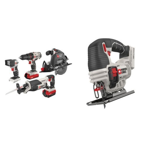 Porter-Cable PCCK614L4 20V Max Lithium Ion 4-Tool Combo Kit with 20-volt MAX Lithium Bare Jigsaw