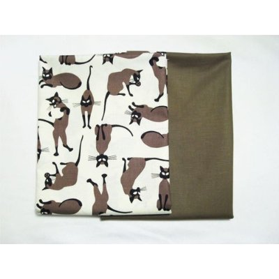 We Are Siamese Cats On White And Solid Taupe Fabric 2 Yard Bundle