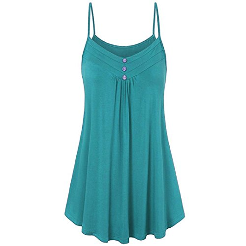 (FORUU Wedding Womens Summer Loose Button V Neck Cami Tank Tops Vest Blouse (2XL, Green))