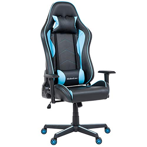 ModernLuxe Ergonomic Executive Office Chair High Back Swivel Racing Style Gaming Chair PU Leather Lumbar Support Headrest (Light Blue)