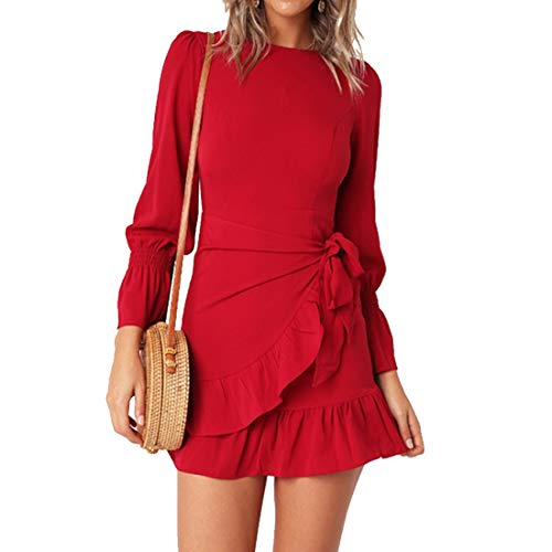 - Womens Long Sleeve Round Neck Ruffles Wrap Dresses Party Dress (Red,L)