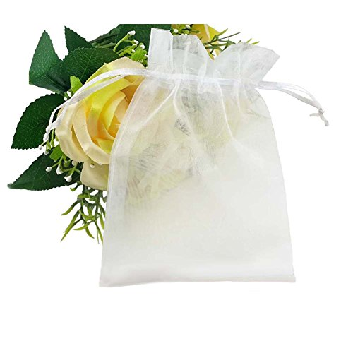 Wedding Favor Bags (SumDirect 100Pcs 4x6 Inches Sheer Drawstring Organza Jewelry Pouches Wedding Party Christmas Favor Gift Bags (White))