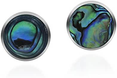 Cute Inlay Abalone Shell Round .925 Sterling Silver Push Back Earrings
