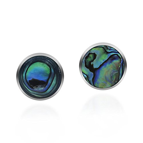 Cute Inlay Abalone Shell Round .925 Sterling Silver Push Back Earrings ()