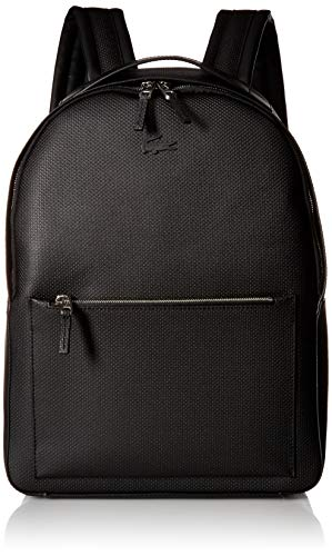 Lacoste Men's Chantaco Leather Backpack with Tonal Croc, Black, 00