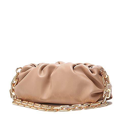 Women's Chain Pouch Bag | Cloud-Shaped Dumpling Clutch Purse | Ruched Chain Link Shoulder Handbag