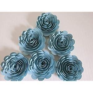 "Set of 6, Pastel Blue Paper Roses, Big 3"" Blooms, Sky Blue Wedding Flowers, Bridal Shower Decor, Light Blue Baby Nursery, Event Planning Floral Decorations, Always In Blossom 22"