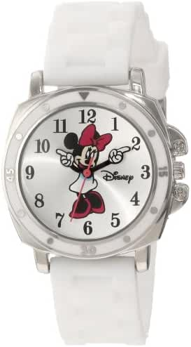 Disney Kids' MN1064 Minnie Mouse Watch with White Rubber Band