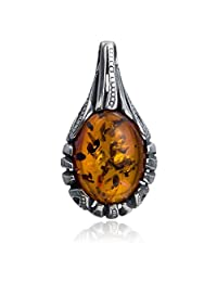 Sterling Silver Amber Drop Pendant