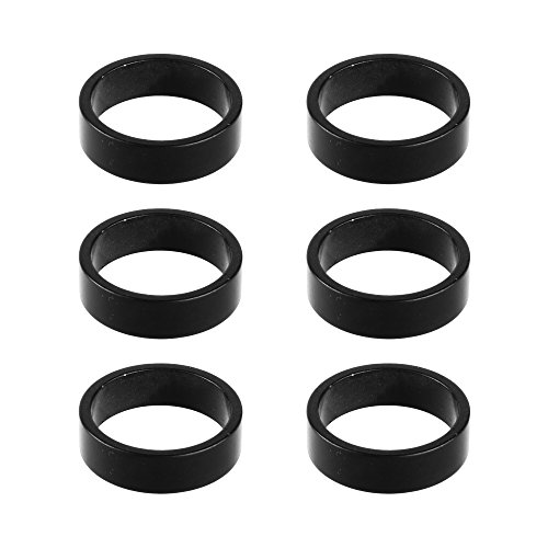 Bluecell 6pcs 10mm Aluminum Alloy Bike Headset Spacer Stem Spacer Bicycle Headset Washer for MTB Bike Road Bikes 1-1/8