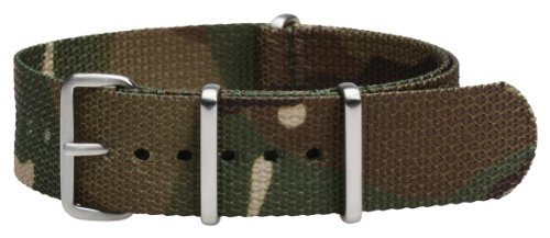 Clockwork Synergy Premium Nylon Nato Watch Straps bands Brushed Steel Hardware (20mm, Army CAMO)