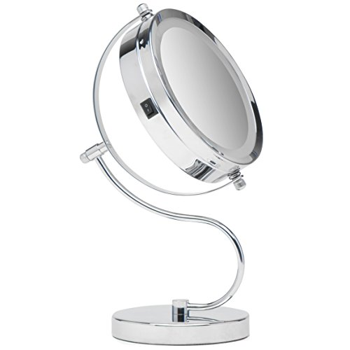 Mirrorvana Bright & Curvy Double-Sided LED Lighted Makeup Mirror w/1x 3x Magnification for Vanity Countertop, - Do You Glasses Fix How