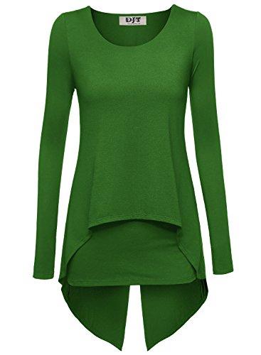 DJT Damen Langarmshirt Rundkragen Asymmetrisch Faux Twinset T-Shirt Gruen M