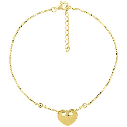 Dainty 14k Yellow Gold Diamond Floating Heart Bracelet for Women Girls 3/8 inch wide, 7 to 8 inch (Floating Diamond Gold Solid)