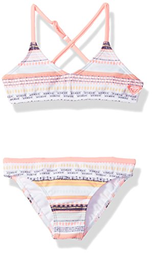 Roxy Girls Little Indi Two Piece Bikini Swimsuit Set, Bright White Livin Dream Strip, 4