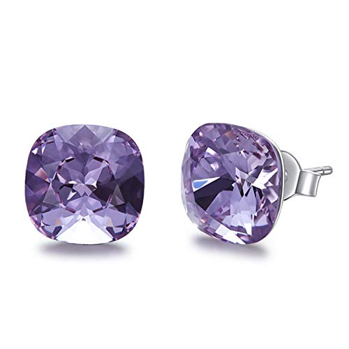 SNOWH Women's Sterling Silver Earrings-Round Cut Cubic Zirconia Studs Cushion Shaped Ladies Gemstone Halo Stud Earrings Christmas Birthday Wedding Beautiful & Elegant Gift Idea Lilac