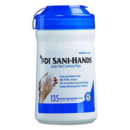 Sani Professional P13472 Sani-Hands ALC Instant Hand Sanitizing Wipes, 7.5x6, White, 135 per Canister (Case of 12) by Sani Professional
