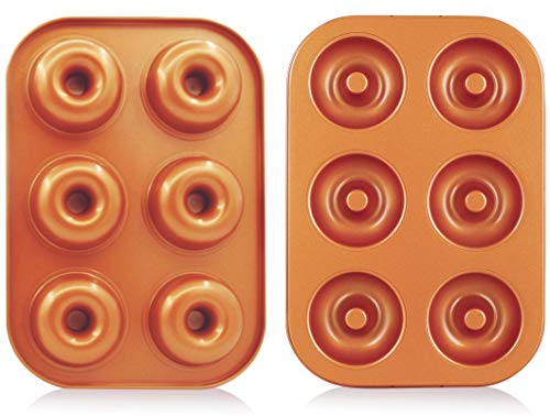 CopperKitchen 2 Pcs Nonstick Donut Pan (6 Cavity - 2 PCS)
