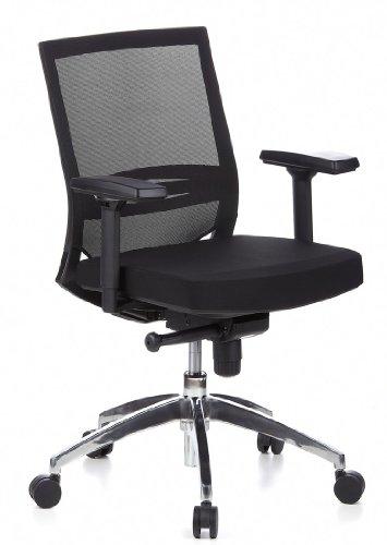 HJH OFFICE 657235 Bürostuhl / Chefsessel PORTO PRO Sitz Stoff / Rücken Netz schwarz