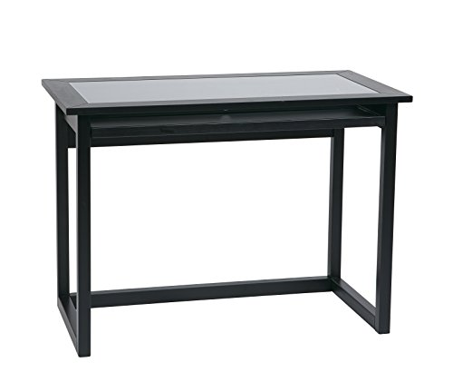 Office Star Meridian 42-Inch Wide Computer Desk with Pullout Keyboard Tray with Storage Space, Black Finish Wood and Veneer Frame and Clear Glass Top ()