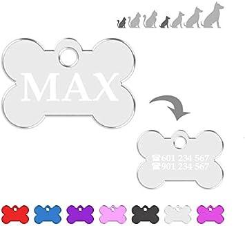 Hueso para Mascotas Muy pequeñas Placa Chapa Medalla de identificación Personalizada para Collar Perro Gato Mascota grabada (Plateado)