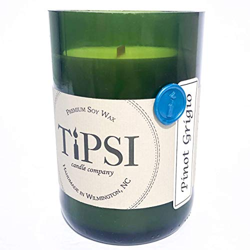 (Repurposed Wine Bottle Candle with WOODEN WICK - PINOT GRIGIO (Reserve Series))