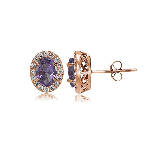 Rose Gold Flashed Sterling Silver Simulated Alexandrite and Cubic Zirconia Accents Oval Halo Stud Earrings