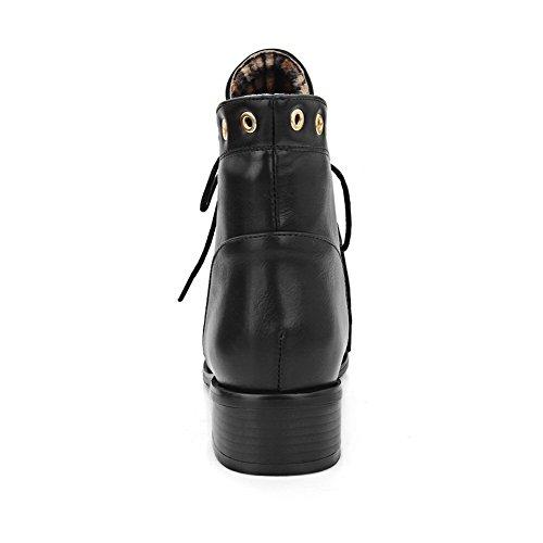 Caña Tacón Negro Cordones Sólido Botas Mini AllhqFashion Mujeres Baja en Puntera Punta a757qz