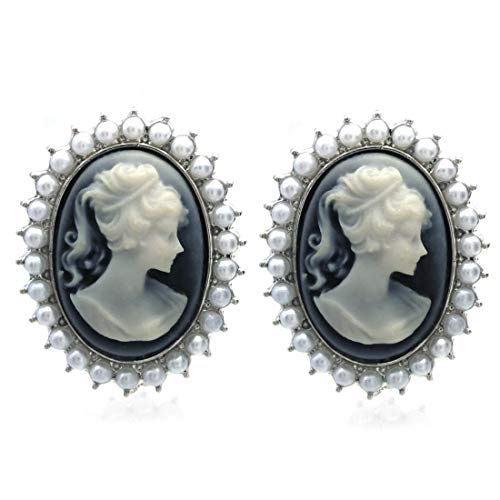 Light Gray Cameo Earrings Stud Post White Faux Pearl Fashion Jewelry