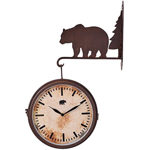 NIKKY HOME Bear Metal Wall Hanging Clocks for Cabin Decor, Rustic Brown -