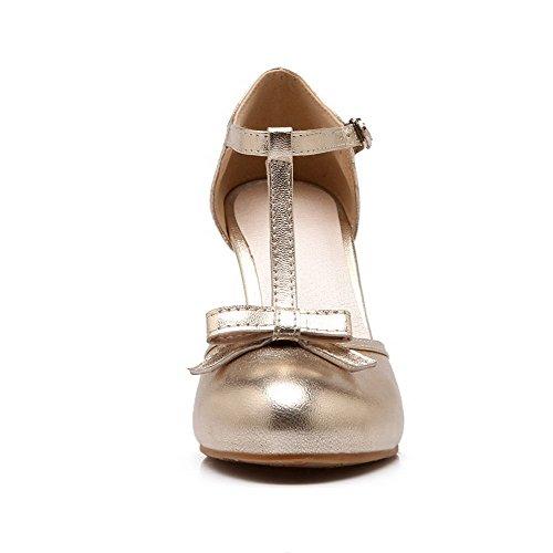 Korkokenkiä Solki toe Naisten kengät Pumput Solid Pyöreä Amoonyfashion Kultaa Pu wA6X5g1q