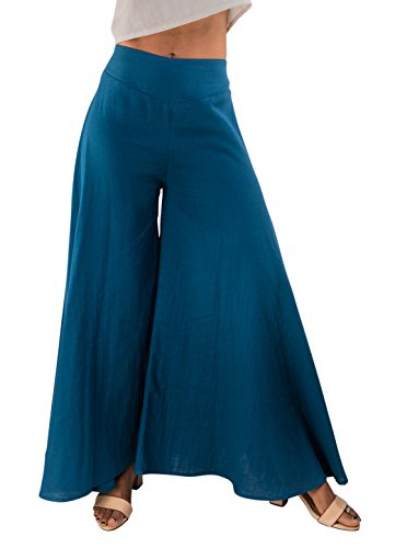 Women's Organic Cotton Palazzo Pants in Blue by Tropic Bliss, Blue, Small