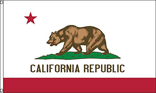 (G128 - California State Flag   3x5 feet   Double Sided Embroidered 210D - Indoor/Outdoor, Brass Grommets, Heavy Duty Polyester, 3-ply)