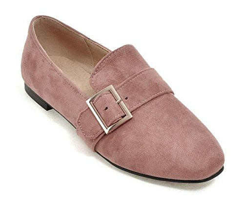 pink Women'S Shoes GLTER Suede Buckle Court Single Black Shoes Metal Grey Closed Pink Shoes Pumps Red Flat Toe fvrq4xdTwv