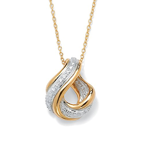White Diamond Accent 18k Gold over .925 Sterling Silver Swirled Pendant Necklace 18