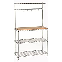 "Seville Classics Baker's Rack for Kitchens, Solid Wood Top, 14"" x 36"" x 63"" H"