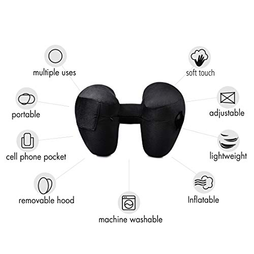BESC Inflatable Travel Pillow for Airplanes - Multinational Traveling Neck Pillow Set with Hood for Women Men Kids - Soft Small Portable Supports Head Chin (Black) by BESC (Image #3)