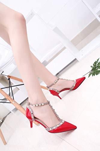 Heels Nude Schuhe Frauen Spitz Sexy Heels Frauen cm Pumps 6 Schuhe Nieten High Schnalle Ferse LIANGHUA Damen Höhe Schuhe Frau qT1wIxI5