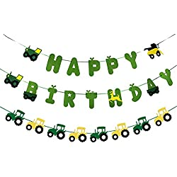 Green Tractor Birthday Banner set with Tractor garland banner for Tractor Farm John Deere Themed Birthday Party Supplies Decorations
