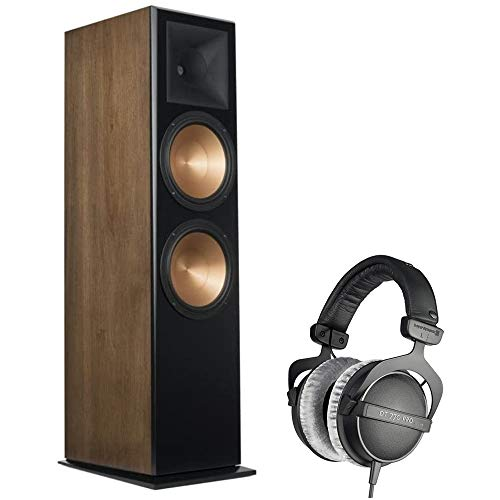 Klipsch KLPRF7IIIWN RF-7 III Floorstanding Speaker, Walnut Bundle with BeyerDynamic DT 770-PRO Studio Headphones 80 Ohms (Closed Dynamic)